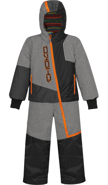 Choko Kiddies and Toddler Pilot One-Piece Snowmobile Suit - Heather Gray