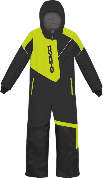 Choko Kiddies and Toddler Pilot One-Piece Snowmobile Suit - Black-Safety Lime