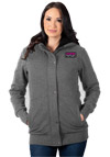 FXR Women's Aspen Sherpa Long Hoodie - Charcoal Heather-Fuchsia