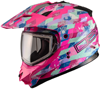 DSG GMAX GM11 Checked Out Pink Snowmobile Helmet