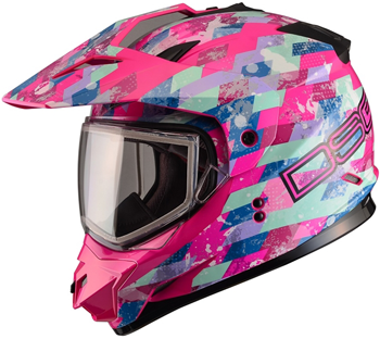 DSG GMAX GM11 Checked Out Pink Snowmobile Helmet by Divas Snow Gear