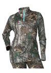 DSG Women's D-Tech Base Layer Shirt - Realtree Xtra-Aqua