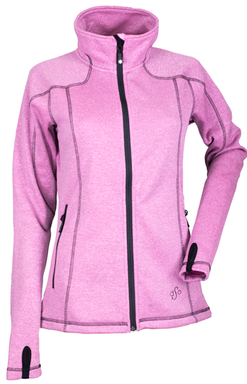 DSG Women's Performance Fleece Jacket by Divas Snow Gear - Pink Heather-Black