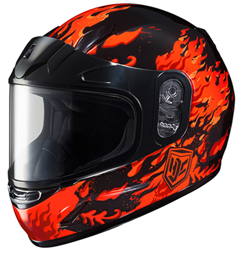 HJC CL-Youth Flame Face Snow Helmet - MC1-Red-Orange